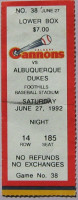 1992 MiLB PCL Abluquerque Dukes at Calgary Cannons ticket stub