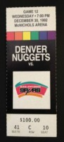 1992 NBA Spurs at Nuggets ticket stub