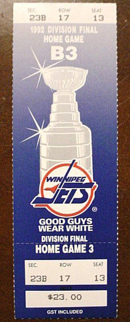 1992 NHL Playoffs Winnipeg Jets ticket stub
