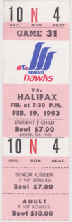 1993 Moncton Hawks ticket stub vs Halifax Citadels for sale