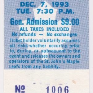 1993 St. John's Maple Leafs ticket stub vs Portland for sale