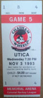 1993 UHL Utica Bulldogs at Chatham Wheels ticket stub