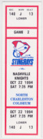 1994 ECHL South Carolina Stingrays ticket stub vs Nashville