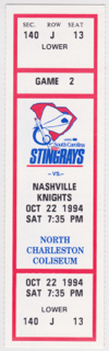 1994 ECHL Nashville Knights at South Carolina Stingrays Minor League Hockey ticket stub