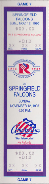 1995 AHL Springfield Falcons at Rochester Americans ticket stub