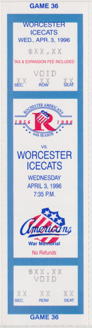 1995 AHL Worcester Icecats at Rochester Americans ticket stub