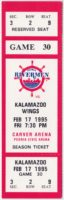 1995 IHL Peoria Rivermen unused ticket vs Kalamazoo