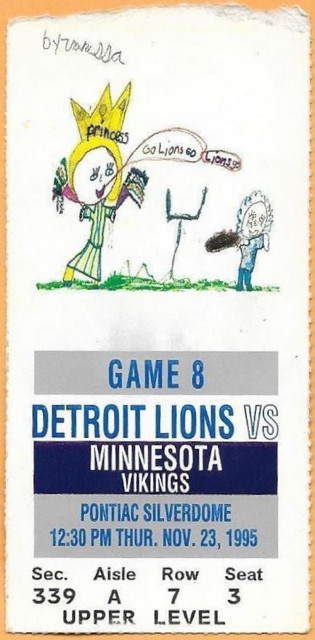 1995 Vikings at Lions ticket stub