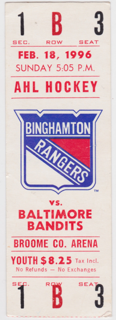 1996 AHL Binghamton Rangers ticket vs Baltimore for sale