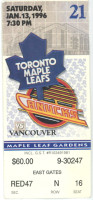 1996 Canucks at Maple Leafs ticket stub
