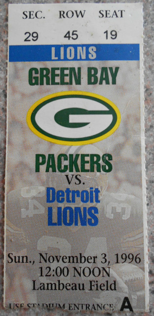 1996 Lions at Packers ticket stub