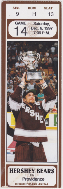 1997 AHL Hershey Bears ticket stub vs Providence Bruins for sale