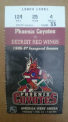 1997 Red Wings at Coyotes ticket stub