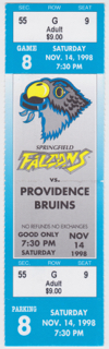 1998 Springfield Falcons ticket stub vs Providence for sale