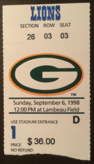 1998 Lions at Packers ticket stub