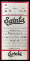 1999 St Paul Saints ticket stub vs Madison Black Wolf