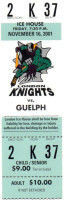 2001 OHL Guelph Storm at London Knights ticket stub