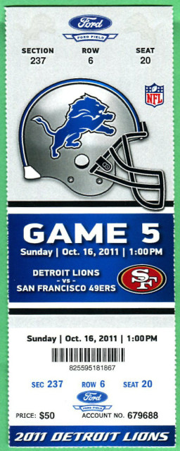 2011 49ers at Lions ticket stub