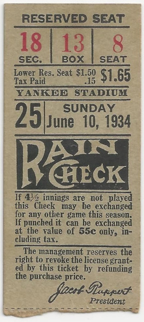 1934 A's at Yankees Gehrig HR ticket stub
