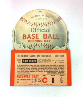 1940 MiLB Baltimore Orioles ticket stub
