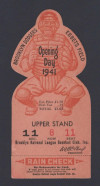 1941 Giants at Dodgers Dodgers Opening Day die cut ticket stub