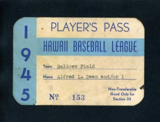 1945 Hawaii Baseball League Player Pass