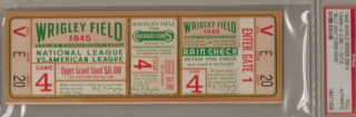 1945 World Series Game 4 Ticket Stub - The Billy Goat Curse Begins