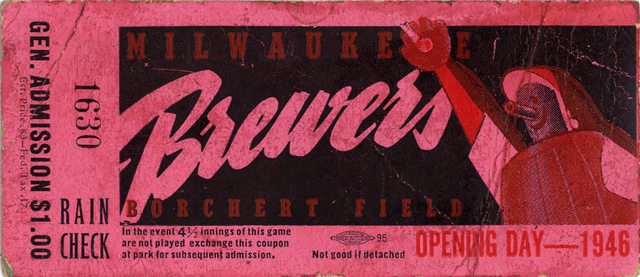 1946 MiLB Milwaukee Braves opening day ticket stub