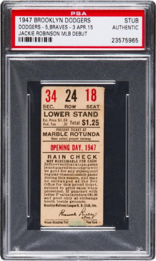 1947 MLB Braves at Dodgers Ebbets Field Arcus Simplex Jackie Robinson debut ticket stub 14000