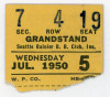 1950 MiLB PCL Seattle Rainiers ticket stub