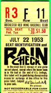 1953 MiLB International League Rochester Red Wings ticket stub