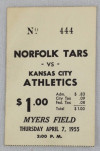 1955 Preseason Kansas City A's at Norfolk Tars