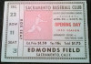 1955 MiLB PCL Hollywood Stars at Sacramento Solons ticket stub