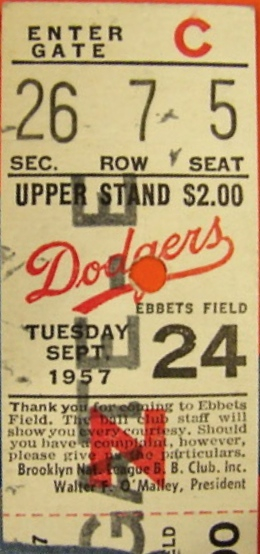1957 Pirates at Dodgers Last game at Ebbets 1913