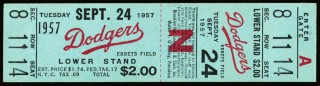 1957 Pittsburgh Pirates at Brooklyn Dodgers final game in Brooklyn ticket 4500