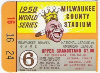 1958 World Series Game 6 ticket stub Yankees at Braves