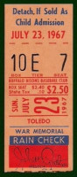 1967 MiLB Intl League Mud Hens at Bisons ticket stub