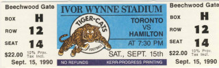 1969 CFL Toronto Argonjauts at Hamilton Tiger Cats ticket stub