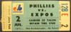 1971 Phillies at Expos ticket stub