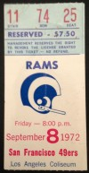 1972 49ers at Rams ticket stub
