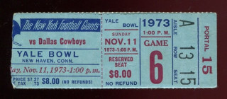 1973 Cowboys at Giants Yale Bowl ticket stub