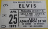 1973 Elvis Presley Fresno ticket stub