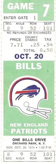 1974 Patriots at Bills ticket stub