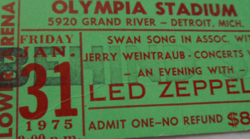 1975 Led Zeppelin Detroit ticket stub 239