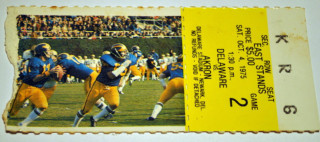1975 NCAAF Akron at Delaware ticket stub