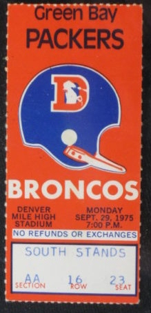 1975 Packers at Broncos ticket stub