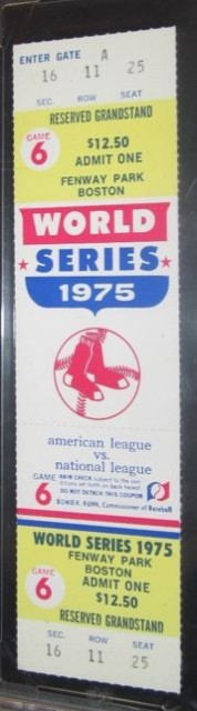 1975 World Series Game 6 ticket stub Reds vs Red Sox Carlton Fisk