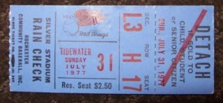 1977 MiLB Tidewater Tides at Rochester Red Wings ticket stub
