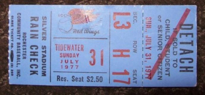1977 Rochester Red Wings ticket stub vs Tidewater