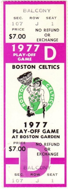 1977 NBA Playoffs 76ers at Celtics ticket stub